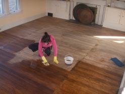 linseed oiling the floor